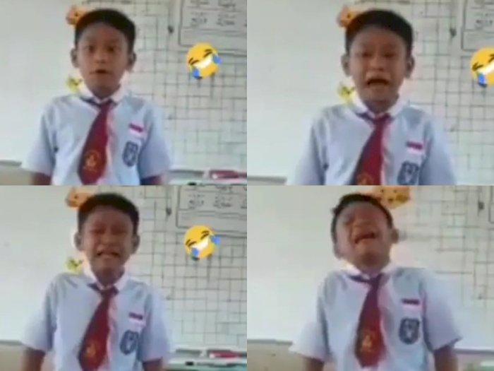 Ngakak, Bocah SD Tertawa Sekaligus Menangis saat Bernyanyi di Depan Kelas, Ini Videonya