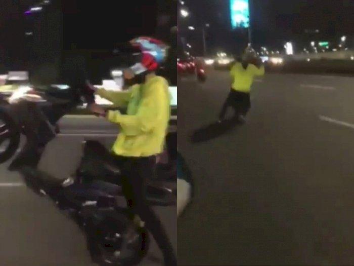 Terjatuh di Jalan Gegara Bawa Sepeda Motor Sambil Ugal-ugalan, Netizen: Kasihan Aspalnya