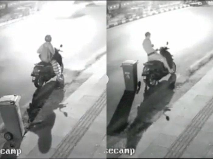 Viral Rekaman CCTV Pria Bersarung yang Curi Tong Sampah, Bikin Netizen Heran
