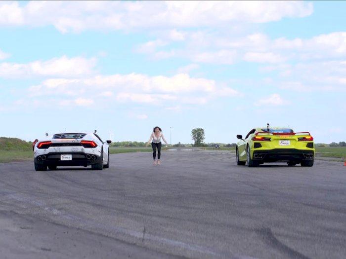 Melihat Pertarungan Antara Mobil Corvette C8 dengan Lamborghini Huracan!