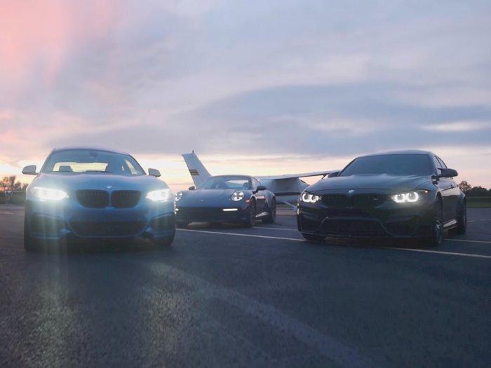 Melihat Drag Race Antara Mobil BMW M240i, Porsche 911 Carrera S, dan BMW M3