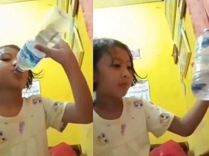Ngakak! Asyik Bikin Video Makan Pedas, Bocah Ini Tak Sadar Minum Air Berisi Ikan Cupang