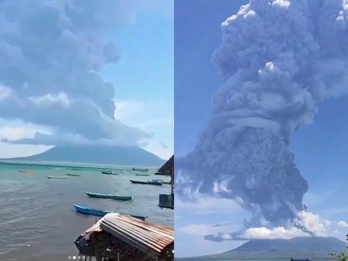 Melihat Letusan Gunung Ile Lewotolok dari Dekat, Warga Panik Berhamburan Keluar