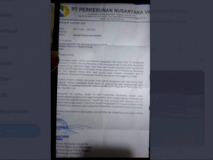 Pesantren Alam Megamendung Diduga Berstatus Ilegal, PTPN VIII Beri 7 Hari Kosongkan Lahan