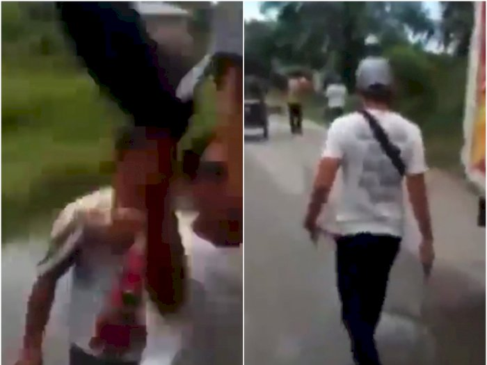 Video Preman Sok Jago Malak Sopir Truk, Giliran Ditantang Pakai Besi, Lari Terbirit-birit
