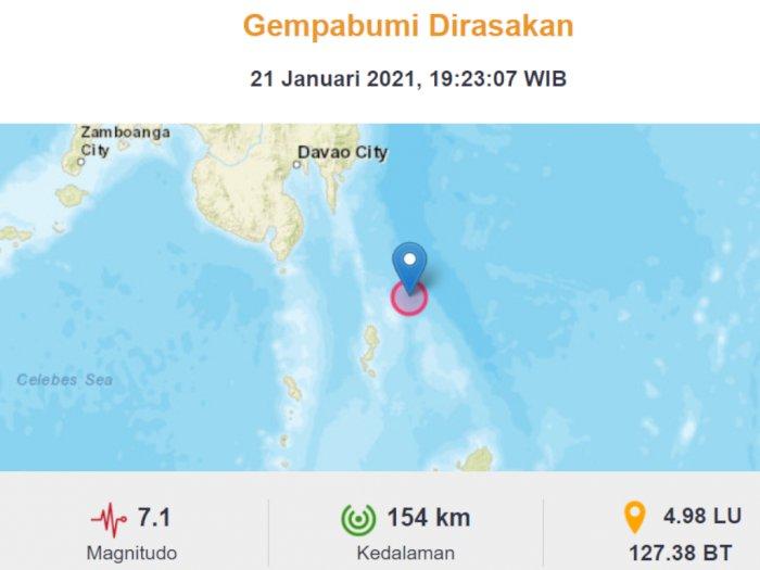 Gempa 7,1 M Guncang Sulut, BMKG: Berpotensi Gempa Susulan