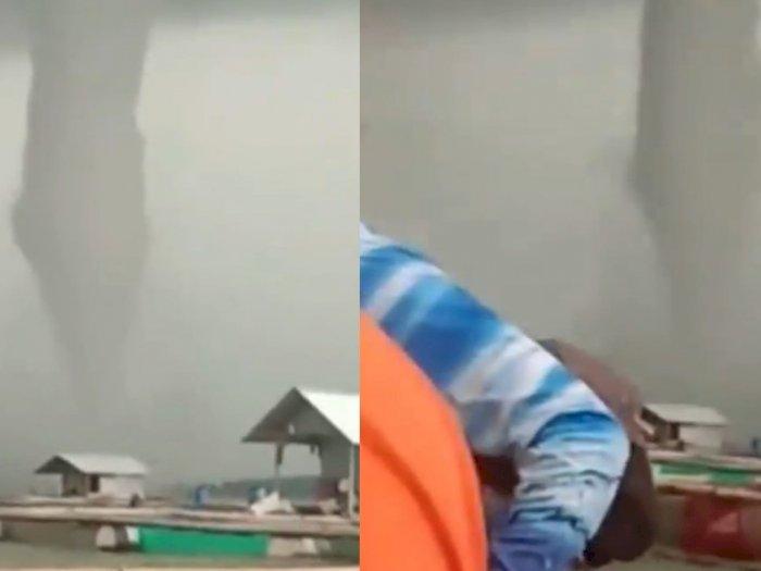 Viral Angin Puting Beliung di Wonogiri, Warga Panik Menyelamatkan Diri Pakai Sampan
