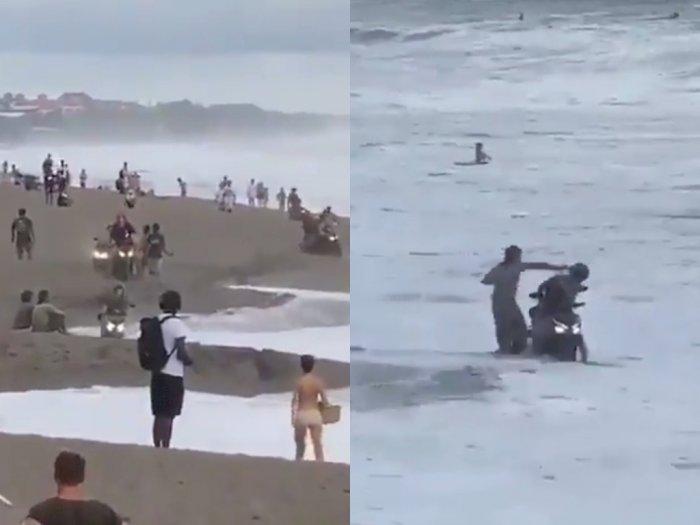 Bule Ugal-ugalan Kendarai Motor di Pantai dan Bikin Warga Kesal, Kepalanya Ditoyor