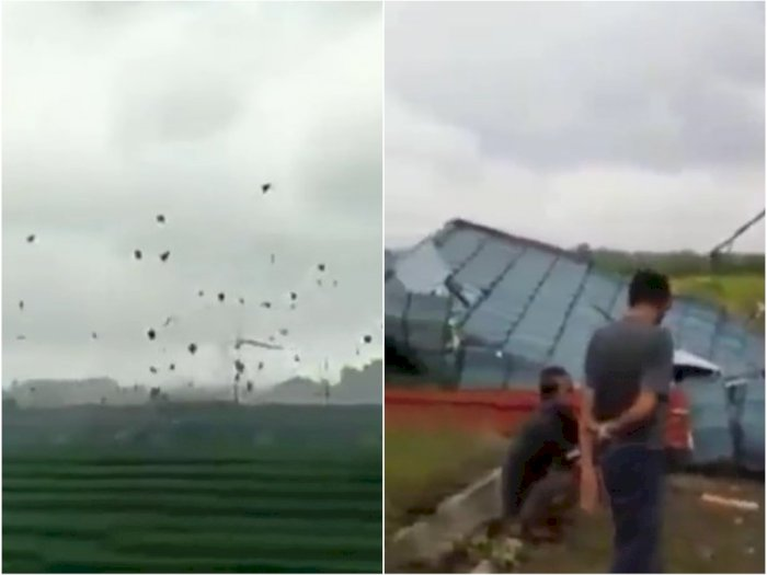 Detik-detik Puting Beliung Terjang Pemukiman Warga, Atap Rumah Berterbangan ke Udara