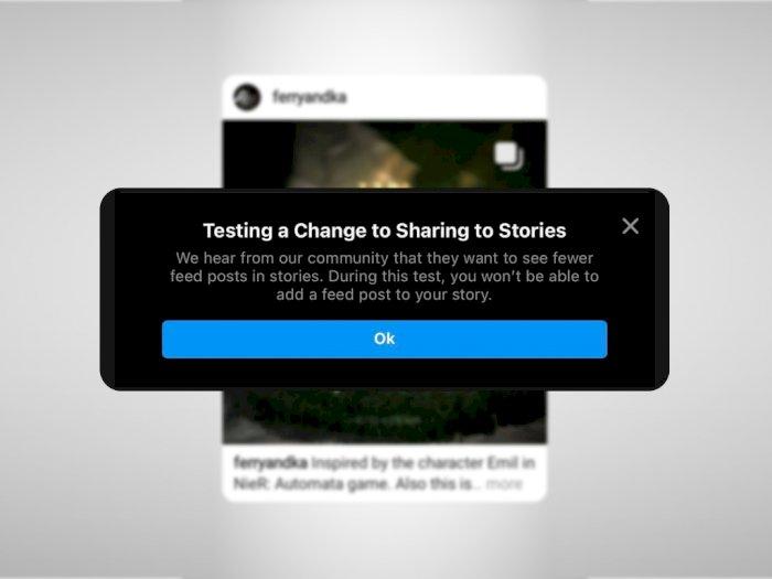 Instagram Uji Coba Larang Pengguna Upload Postingan dari Feed ke Stories!
