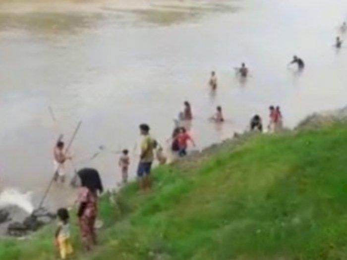 Air Sungai Wampu Stabat Berubah warna jadi Pekat, Udang dan Ikan Bermunculan ke Permukaan