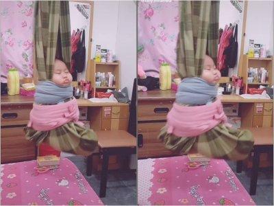 Video Memperlihatkan Bayi yang Tidur Lelap dengan Bapukung, Cara Tradisional di Kalimantan