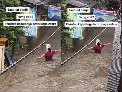 Video Momen Ibu-ibu Tampak Bahagia Saat Melewati Arus Banjir, Netizen: Hati-hati Bu