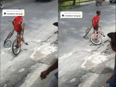 Kocak, Bocah Nangis Tenteng Sepedanya yang Terbelah Dua, Netizen: Sepedanya Jadi Amuba