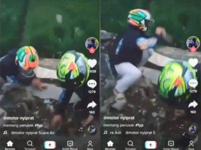 Viral, Aksi Pemotor Sengaja Lempar Batu ke Sawah Banjir Kecaman, Ending-nya Menyesal