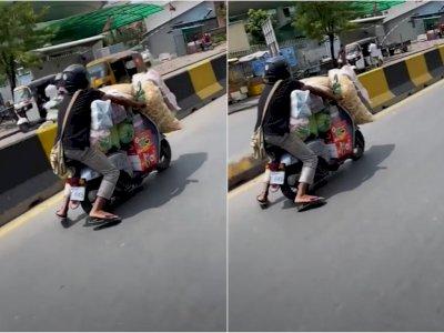 Viral, Belanjaan Banyak, Pria Ini Nekat Membawa Pakai Motor Bahkan Sampai Susah Duduk