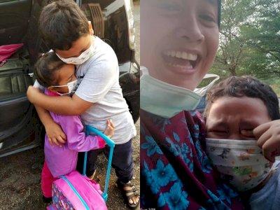 Bocah Laki-laki Ini Tak Bisa Berhenti Menangis Usai Adiknya Pergi di Hari Pertama Sekolah