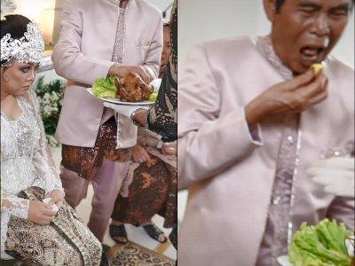 Kocak, Bapak Ini Salah Masuk saat Nyuap Makanan ke Pengantin, Netizen: Mantunya Ngakak