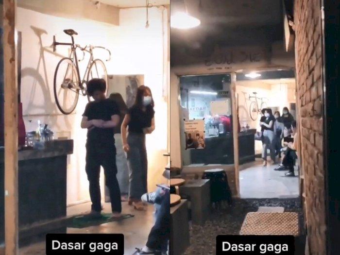 Viral, Aksi Pria Salat di Tengah Pengunjung Kafe, Netizen Salfok Lagunya: Salat Tapi Minum