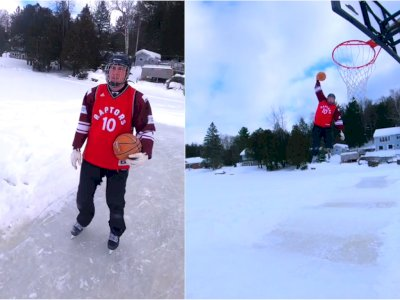 Keren! Pria Ini Gabungkan Ice Skating dan Basket, Akhiri dengan Slam Dunk Memukau