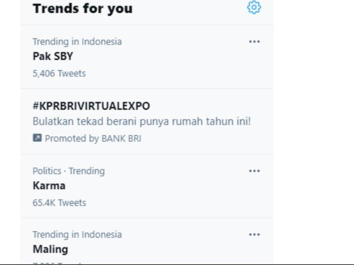 SBY Trending Topic di Twitter, Netizen Bicara soal Karma: Presiden Dikhianati Jenderalnya!