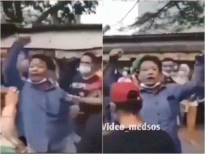 Kocak, Bapak Ini Unjuk Rasa Tuntut Keadilan di Depan Petugas, Ujungnya Malah Nahan Malu