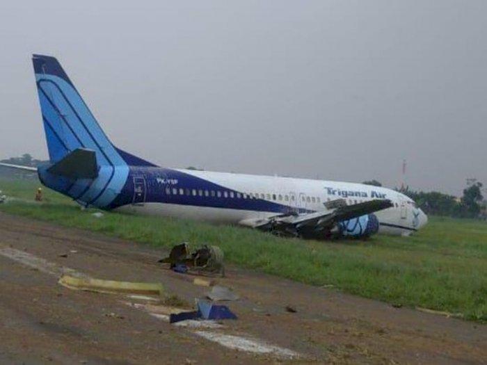 Pesawat Trigana Air PK-YSF Rute Jakarta-Makassar Keluar Landasan, Korban Jiwa Nihil