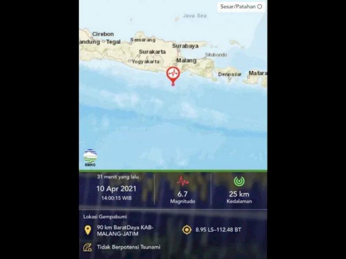 Gempa Bumi Magnitudo 6,7 Guncang Kabupaten Malang, Beruntung Tidak Potensi Tsunami