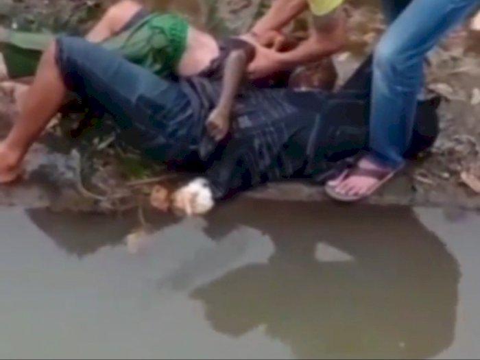 Pilu Ayah Menangis Peluk Jasad Anaknya yang Hanyut di Sungai Cigending, Tak Bisa Bangkit