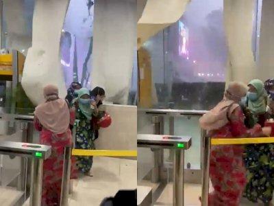 Detik-detik Jendela Kaca Gedung Pecah Akibat Angin Kencang saat Hujan Badai
