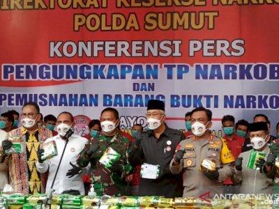 Polda Sumut Memusnahkan 205 kilogram Barang Bukti Sabu-sabu