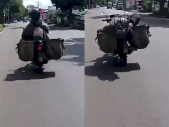 Video Kurir Paket 'Banyak Gaya' saat Bawa Motor, Panik dan Malah Nabrak Pembatas Jalan