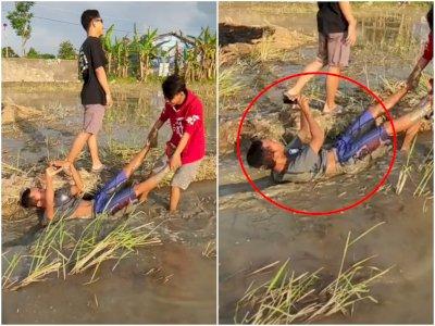 Demi Konten! Pemuda Rela 'Diseret' di Sawah Penuh Lumpur Sambil Rekam Video, Hasilnya...