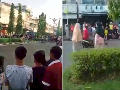 Viral Aksi 2 Emak-emak Bubarkan Balap Liar di Jambi, Lemparkan Batu dan Kayu