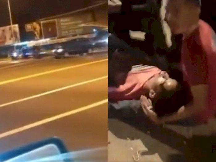 Dua Pengendara Sepeda Motor Cedera Setelah Balapan & Menabrak Mobil di Persimpangan Jalan