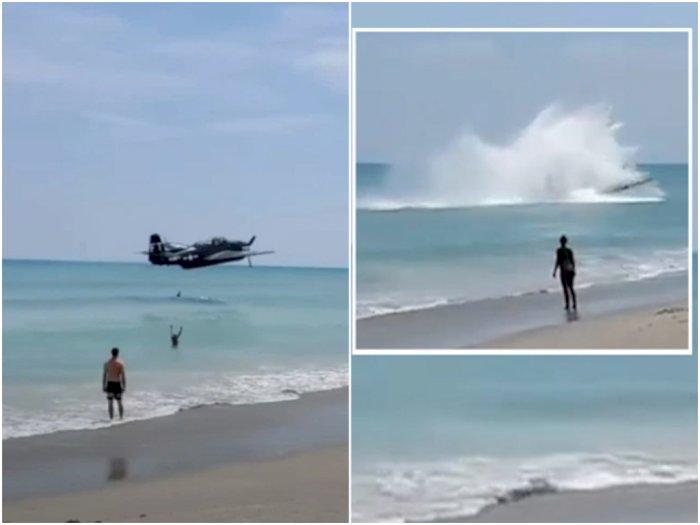 Dramatis! Detik-Detik Pesawat Pengebom Perang Dunia II Mendarat Darurat di Pantai