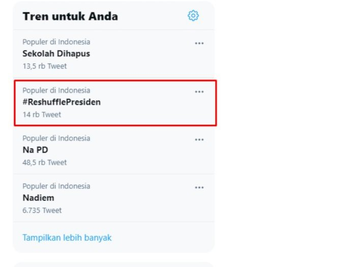 #ReshufflePresiden Trending di Twitter, Netizen: Mahasiswa Tidur, Siapa yang Diharapkan