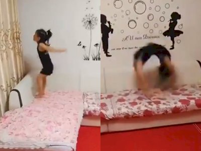 Keren! Bocah Perempuan ini Jago Lakukan Back Flip Berkali-kali, Bikin Netizen Melongo