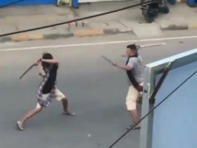 Ngeri, 2 Pria Berkelahi Pakai Parang, Karena Masalah Utang Rp100 Ribu Untuk Beli Sabu