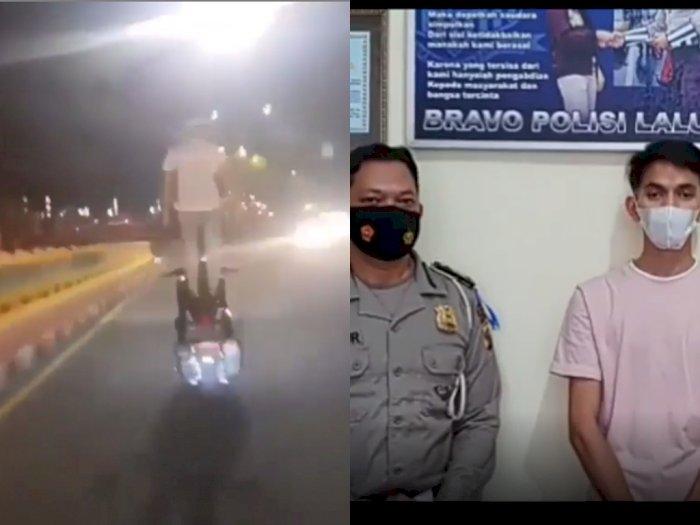 Viral Pemuda yang Kendarai Motor sambil Berdiri, Berujung Dijemput Polisi dan Minta Maaf