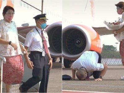Pilot Ini Bersujud dan Menangis Haru Setelah Melakukan Penerbangan Terakhirnya