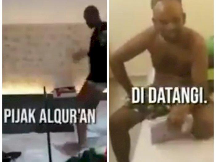 Pria Botak Pijak Al-Quran, Sejumlah Umat Muslim Geram dan Menghajarnya di Kamar Hotel