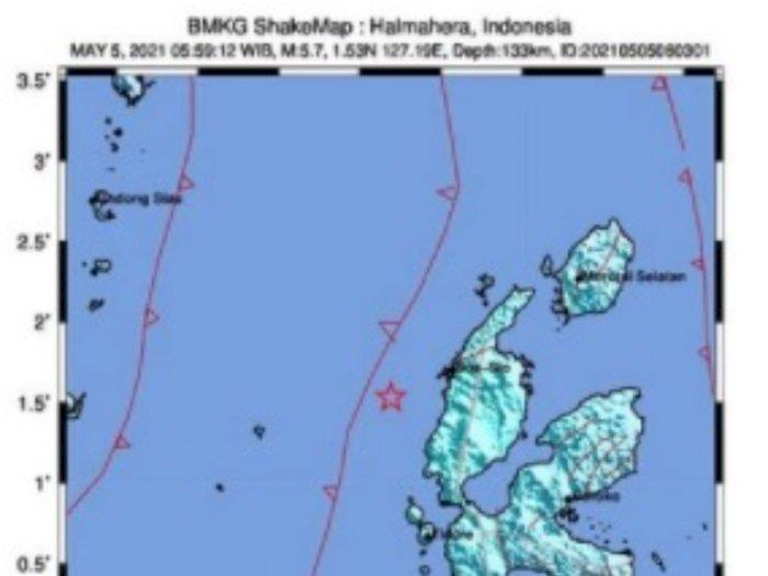 Innalillahi... Gempa Bumi Magnitudo 5,7 Guncang Halmahera Barat