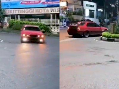 Viral Mobil Ngedrift di Tengah Jalan Bukittinggi, Netizen Tunggu Klarifikasinya di Polres