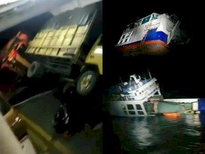 Detik-detik Menegangkan Kapal Feri Karam Akibat Terseret Angin Kencang dan Menabrak Karang