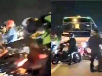 Duh! Ribuan Pemudik Ini Terobos Penyekat Jalan yang Jebol di Karawang, Petugas Kewalahan