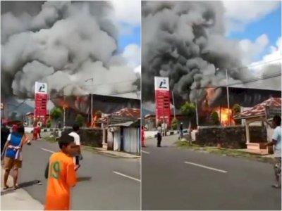 Kebakaran Hanguskan SPBU Mena di Ruteng Manggarai, Api dan Asap Hitam Membumbung ke Langit
