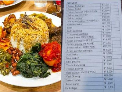 Di Korea Selatan Ternyata Ada RM Padang, Harga Nasi Padangnya Bikin Syok