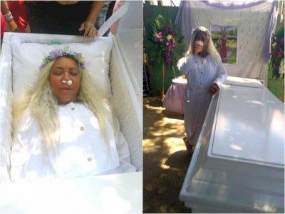 Gegara Penasaran, Wanita Ini Latihan Meninggal, Bikin Acara Pemakaman Palsu & Undang Tamu