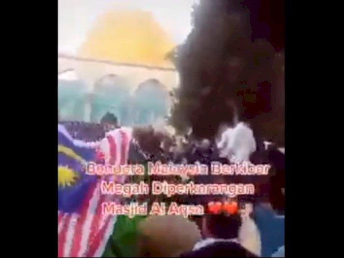 Bendera Malaysia Berkibar di Al Aqsa, Netizen: Bravo Malaysia, Indonesia Segera Menyusul